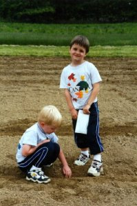 Boys helping in the garden