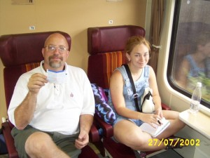 Heidi and Randall on the train.