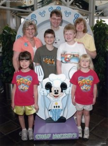 Gruenbaum and Grandma at the Chef Mickey Breakfast buffet