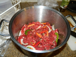 Marinating the meat