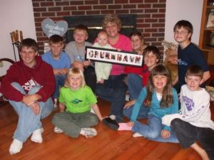 Grandma and all the grandkids on Thanksgiving '07