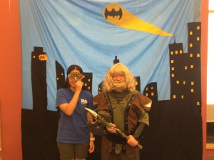 Dawn surprised to have a Dwarf near by when getting her picture with the bat call